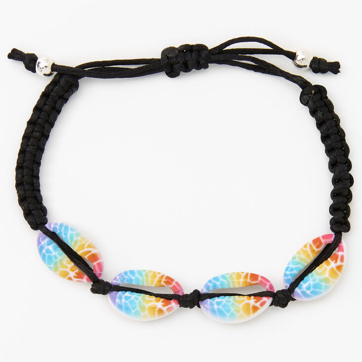 Rainbow Ombre Cowrie Shell Adjustable Cord Bracelet,