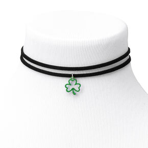 Shamrock Choker Necklaces - Black, 2 Pack,