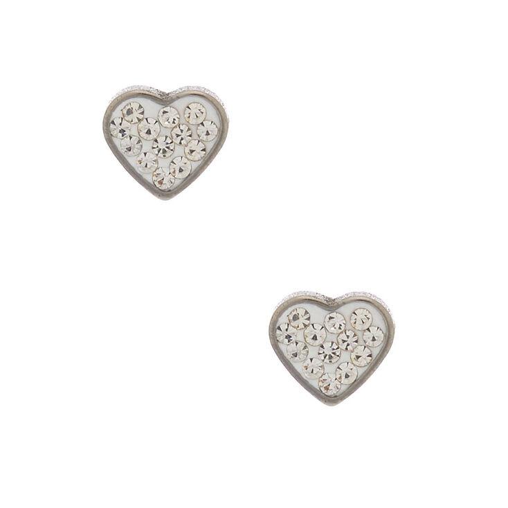 Silver Titanium Crystal Heart Stud Earrings - White,