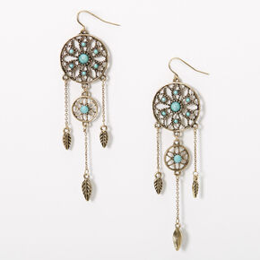 """Silver 3.5"""" Burnished Dreamcatcher Drop Earrings - Turquoise,"""