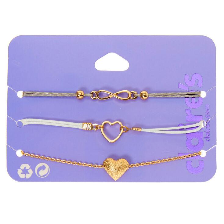 Gold Infinity Heart Bracelets - 3 Pack,