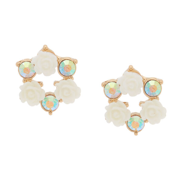 Claire's - crystal floral circle stud earrings - 1