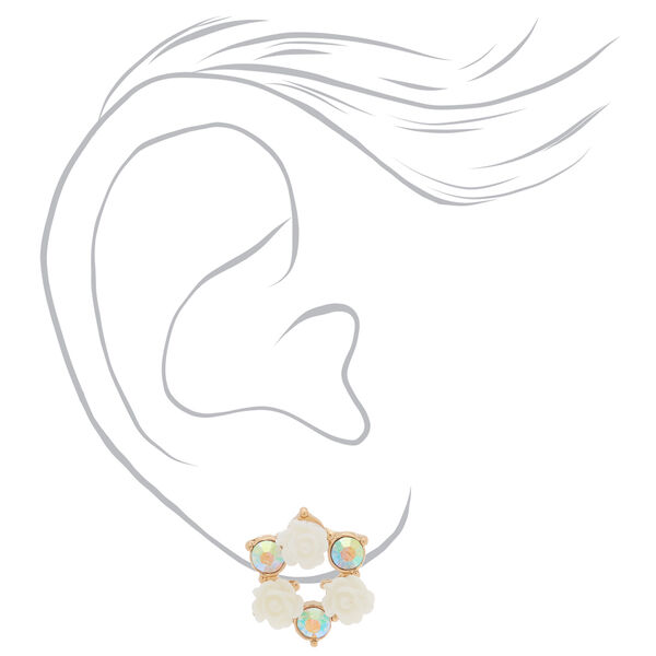 Claire's - crystal floral circle stud earrings - 2