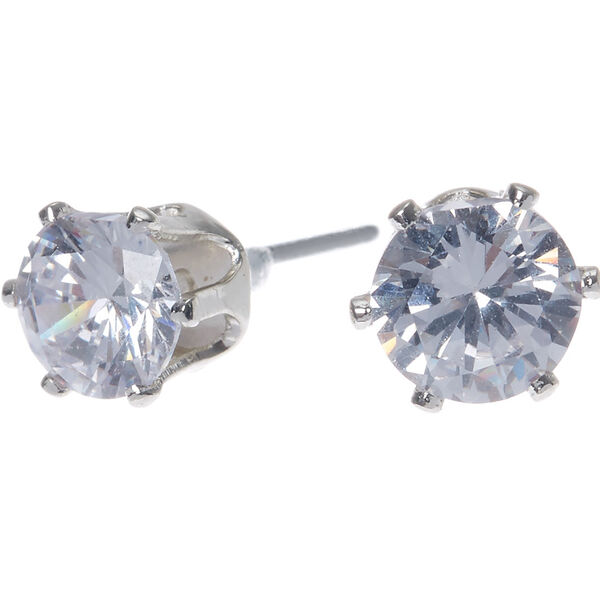 Claire's - cubic zirconia 6mm round stud earrings - 1