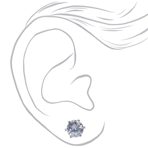 Claire's - cubic zirconia 6mm round stud earrings - 2