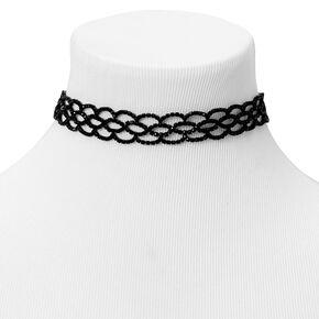 Black Rhinestone Infinity Statement Choker Necklace,