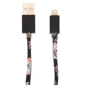 Cordon USB noir à motif floral,