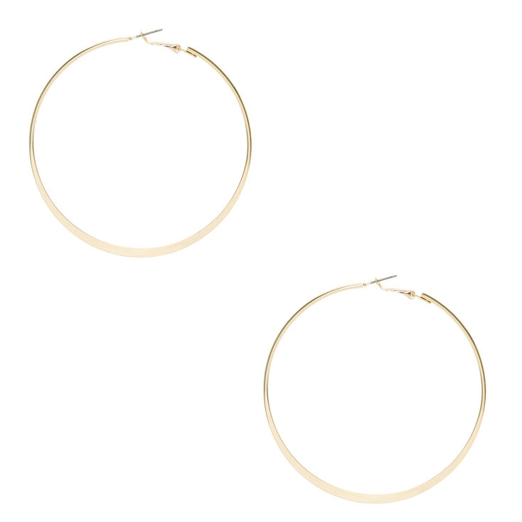 Gold 80mm Flat Hoop Earrings
