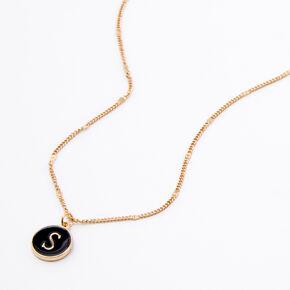 Gold Enamel Initial Pendant Necklace - Black, S,