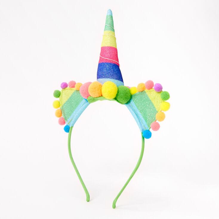 Rainbow Unicorn Pom Pom Headband,