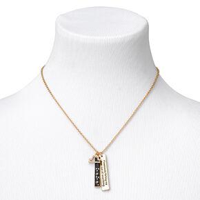 Collier à pendentif zodiaque rectangulaire couleur dorée - Balance,