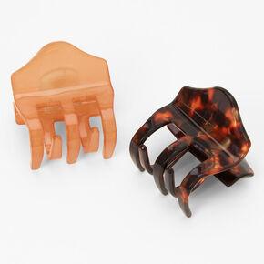 Mini pinces à cheveux écaille de tortue couleur unie - Nude, lot de 2,