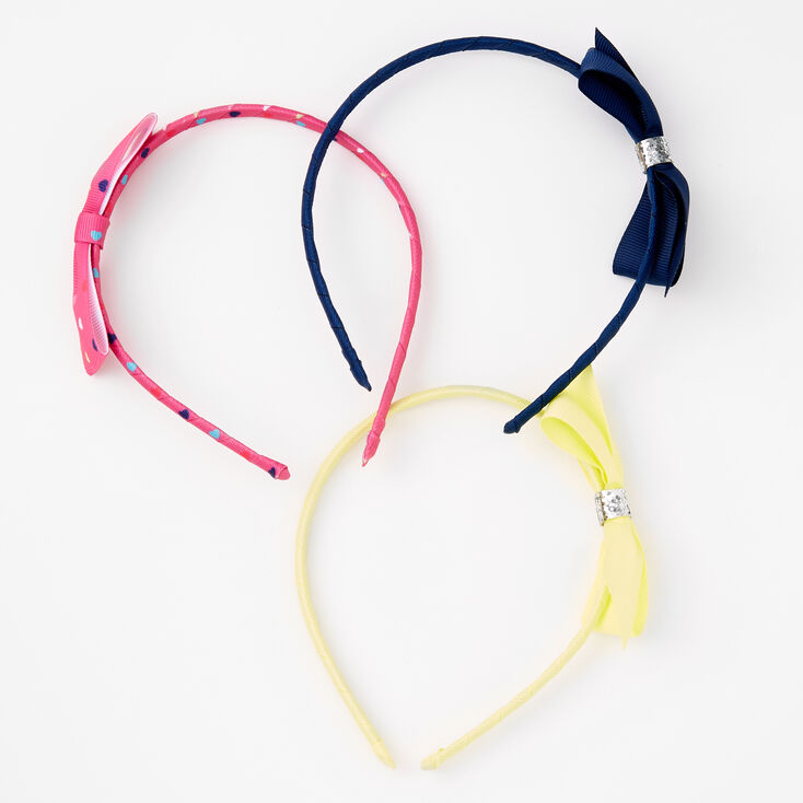 Claire's Club Classic Heart Bow Headbands - 3 Pack,
