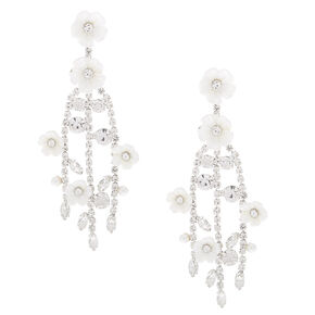 """Silver 2.5"""" Rhinestone Flower Branch Drop Earrings,"""