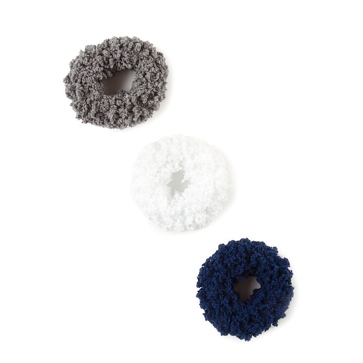 Small Neutral Navy Fuzzy Hair Scrunchies - 3 Pack,