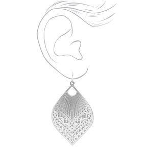 "Silver 2.5"" Filigree Teardrop Drop Earrings,"
