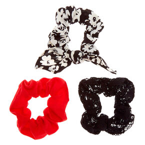 Small Floral Lace Hair Scrunchies - Black, 3 Pack,