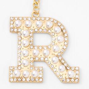 Gold Bling Initial Pom Pom Keyring - White, R,