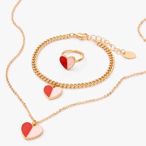 Gold Duo Heart Jewellery Gift Set - 3 Pack,
