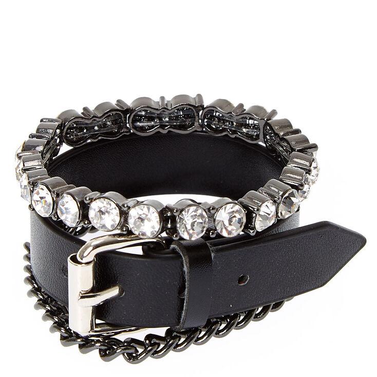 Black Edgy Bracelet Set,