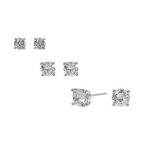 789254675 Silver Cubic Zirconia Graduated Round Stud Earrings - 3 Pack