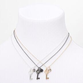 Colliers à pendentif clé couronne best friends en métaux mixtes - Lot de 3,