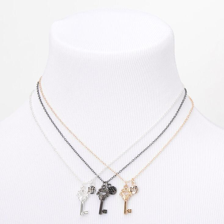 Mixed Metal Best Friends Crown Key Pendant Necklaces - 3 Pack,
