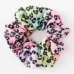 Medium Pastel Rainbow Leopard Hair Scrunchie,