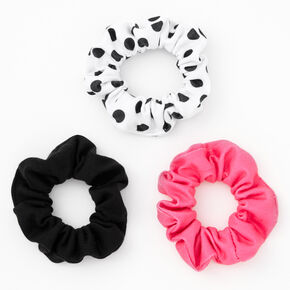 Claire's Club Polka Dot and Solid Hair Scrunchies - 3 Pack,