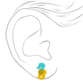 Glitter Seahorse Stud Earrings - Yellow,