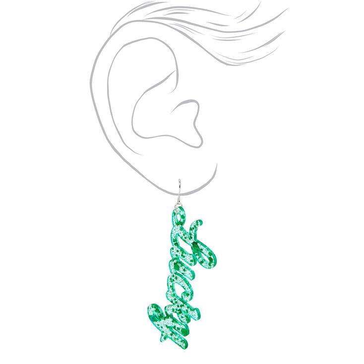 3'' Glitter Lucky Drop Earrings - Green,