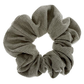 Medium Ribbed Hair Scrunchie - Olive Green,