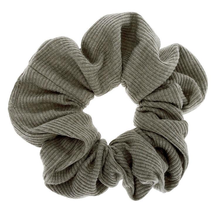 Medium Ribbed Hair Scrunchie - Olive Green,