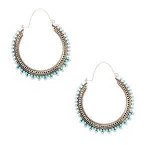 Silver 45MM Vintage Beaded Hoop Earrings - Turquoise,