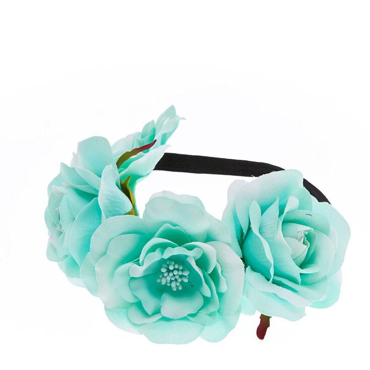 Couronne de fleurs vert menthe surdimensionnées,