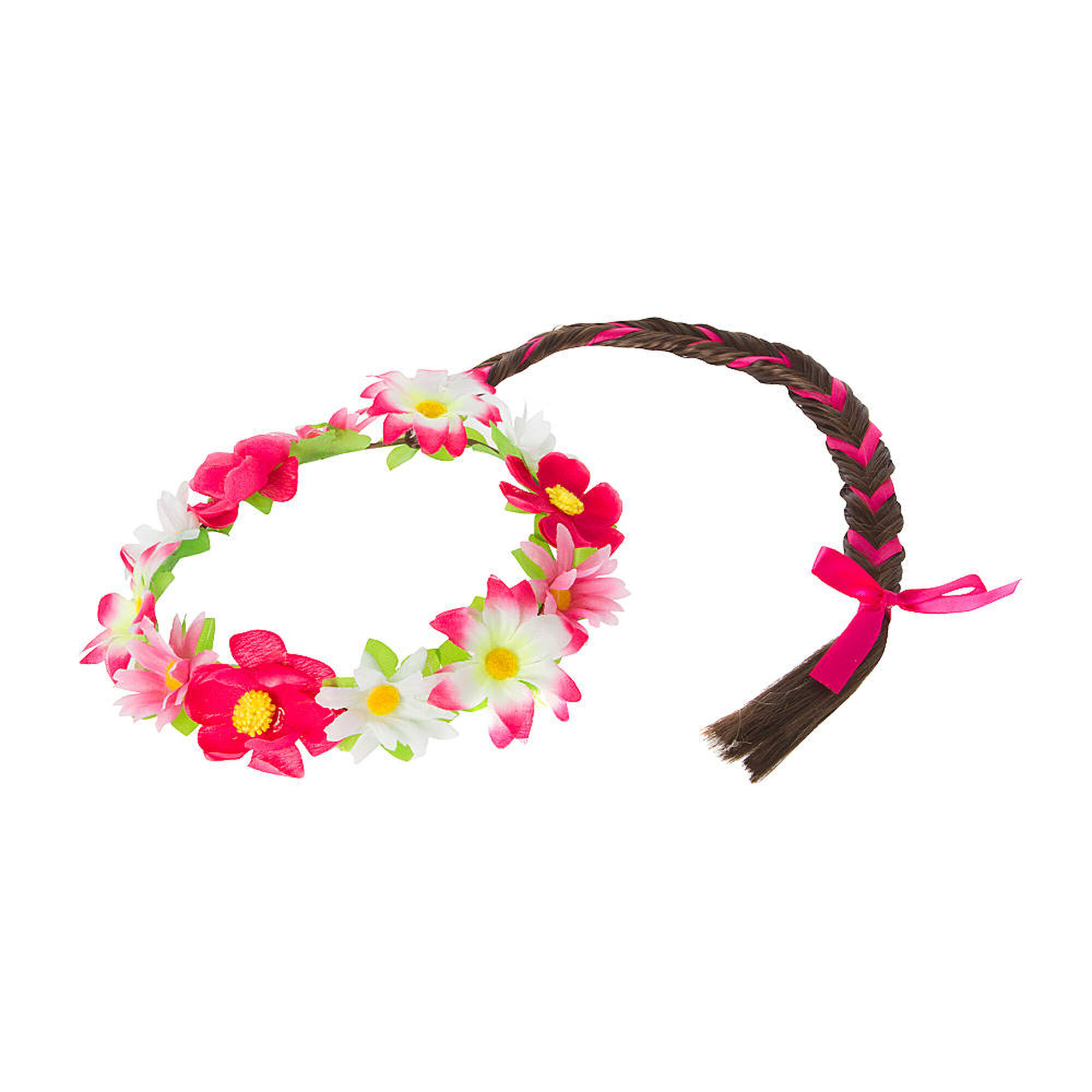 Kids pink flower garland headwrap with brunette faux hair fishtail kids pink flower garland mightylinksfo