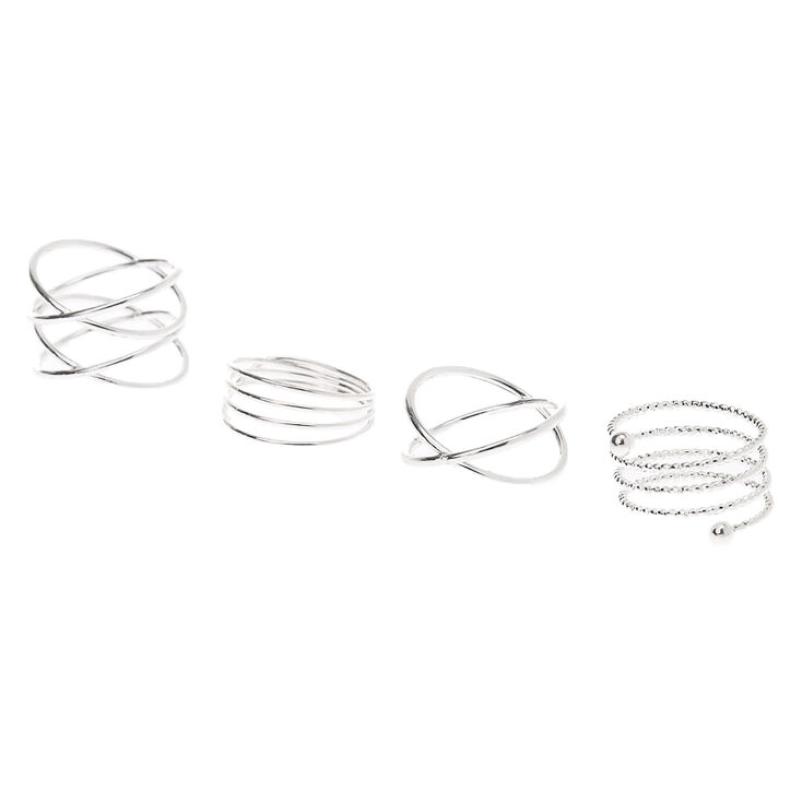 Silver Spiral Rings - 4 Pack,