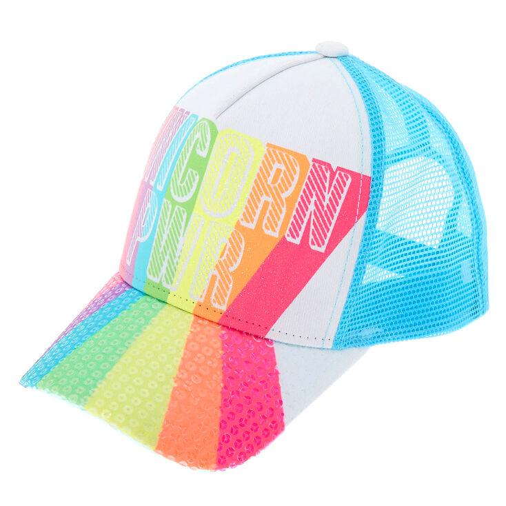 ca4e4d1f Rainbow Sequin Unicorn PWR Trucker Hat | Claire's US