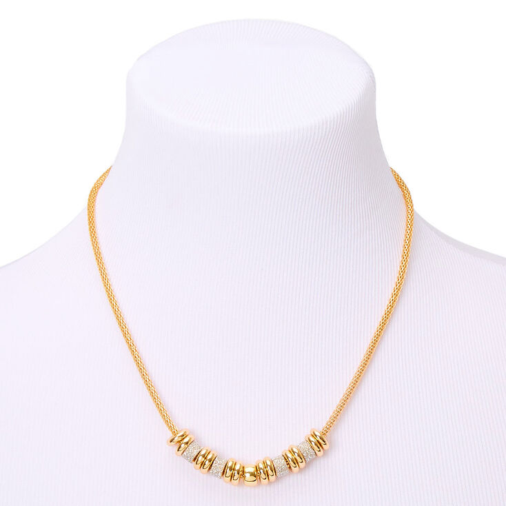 Gold Glitter Ring Statement Necklace - Silver,