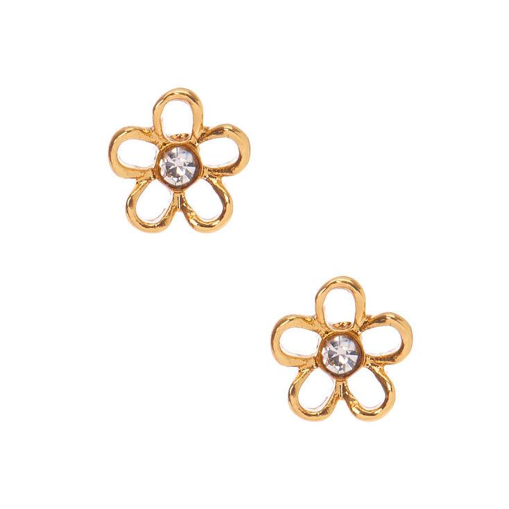 18kt Gold Plated Open Daisy Stud Earrings,