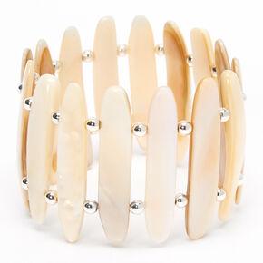 Silver Beaded Skinny Seashell Stretch Bracelet,