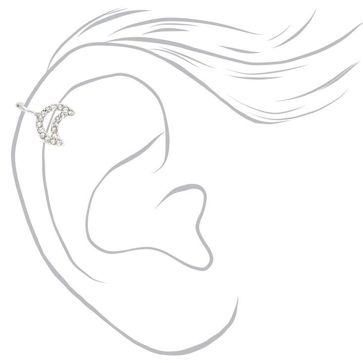 Silver Open Crystal Moon Ear Cuff,
