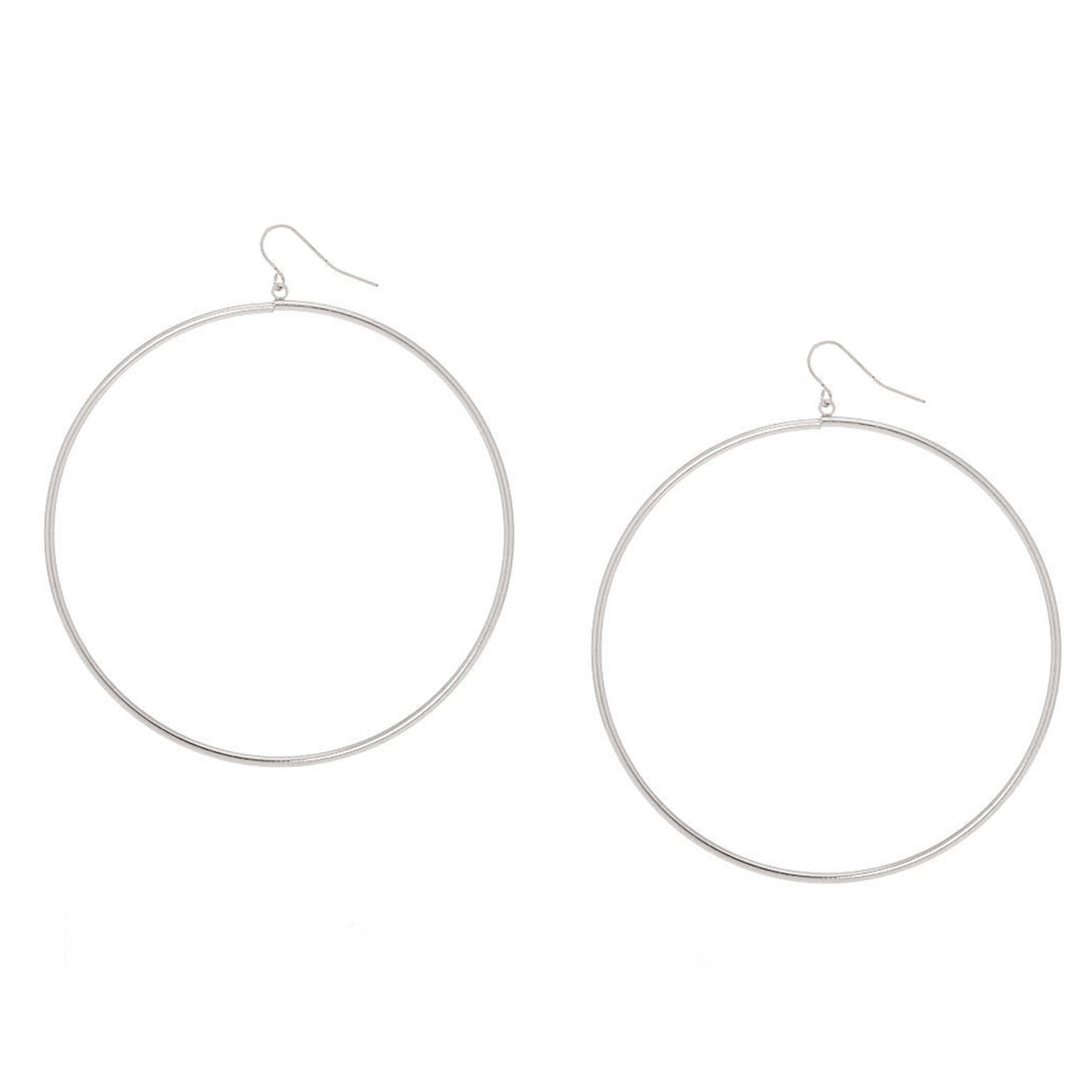 Silver 80mm Hoop Drop Earrings