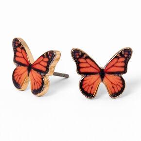 Gold Monarch Butterfly Stud Earrings - Orange,
