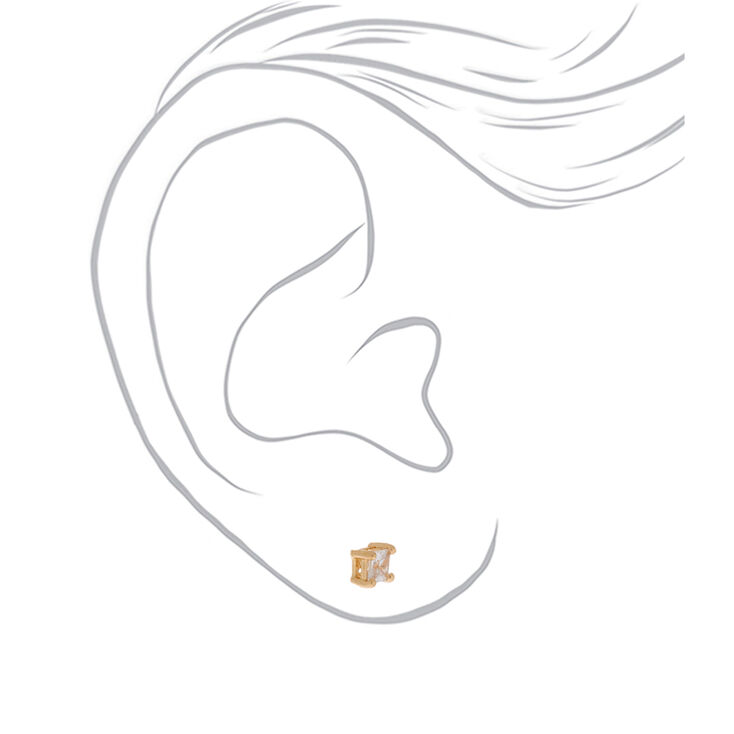 Gold Cubic Zirconia 4MM Square Stud Earrings,