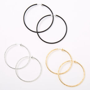 Mixed Metal Graduated Textured Clip On Hoop Earrings - 3 Pack,