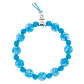 Blue Marble Bead Bracelet,