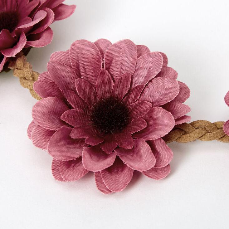 Daisy Braided Tie Headwrap - Berry,