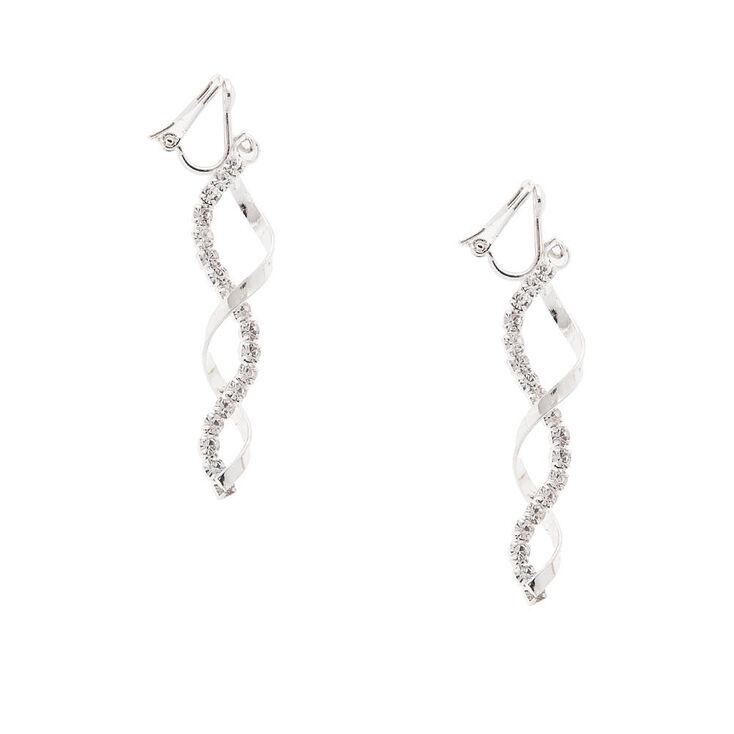 """Silver 2"""" Ribbon Twist Crystal Clip On Drop Earrings,"""