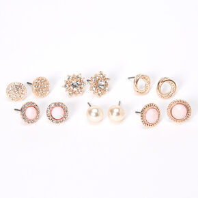 Rose Gold Crystal Pearl Stud Earrings - Blush Pink, 6 Pack,
